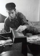 Bob Dylan and his record player, Greenwich Village, NYC 1961