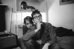 Bob Dylan glasses and Suze, 161 W 4th St, Greenwich Village 1961