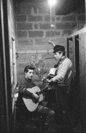 Bob Dylan & Mark Spolstra, basement, Gerde's Folk City, NYC 1961