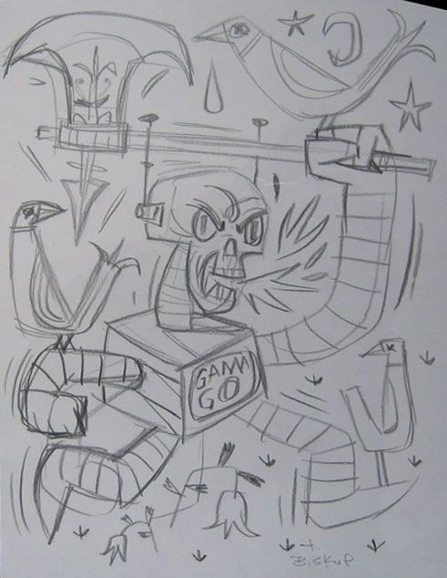 Deathbot Axe Original Sketch