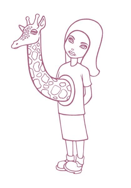 Giraffe Girl Drawing Art Print 3rd Edition