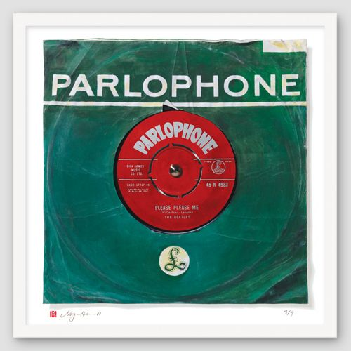 "The Beatles ""Please Please Me"" Oversize Print of Painted Single"